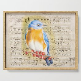 Blue Bird Music Collage Shabby Chic Serving Tray
