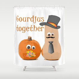Gourdjus Together Cute Just Married Wedding Vector Shower Curtain