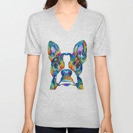 Colorful Boston Terrier Dog Pop Art - Sharon Cummings Unisex V-Neck