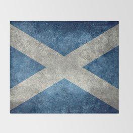 Flag of Scotland, Vintage retro style Throw Blanket