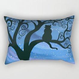 Meowing at the moon - moonlight cat painting Rectangular Pillow