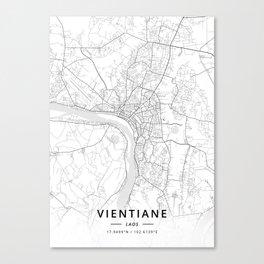 Vientiane, Laos - Light Map Canvas Print