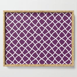 Purple and white curved grid pattern Serving Tray