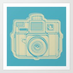 I Still Shoot Film Holga Logo - Turquoise/Tan Art Print