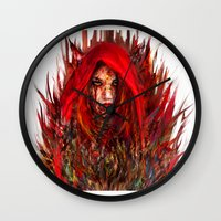 red riding hood Wall Clocks featuring  Red Riding Hood by ururuty