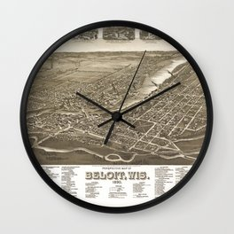 Perspective map of Beloit, Wisconsin (1890) Wall Clock