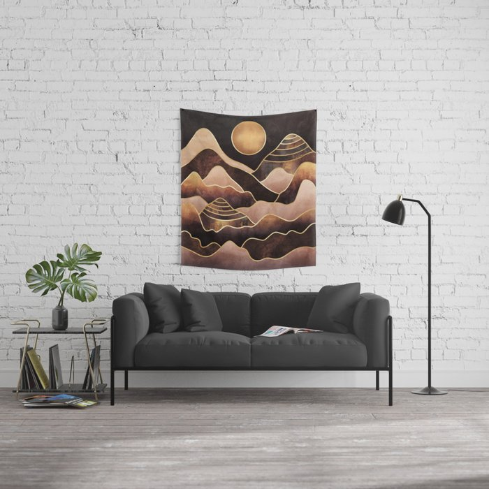 Sunkissed Mountains Wall Tapestry