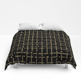 gold line and dot doodle on black Comforters