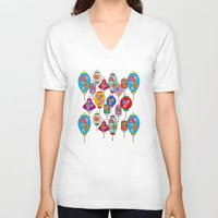 chinese V-neck T-shirts featuring Chinese lantern by Helene Michau