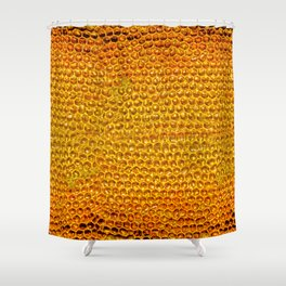 Yellow honey bees comb Shower Curtain