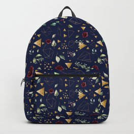 Gold Geometric Shapes Burgundy Floral Pattern The Good Life Typography Backpack