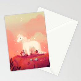 White Horse on the Pink Prairie Stationery Cards