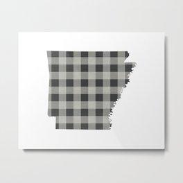 Arkansas Plaid in Gray Metal Print