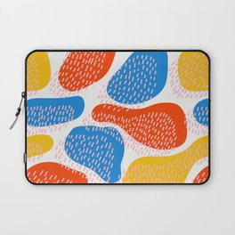 Abstract Orange, Blue & Yellow Memphis Pattern Laptop Sleeve