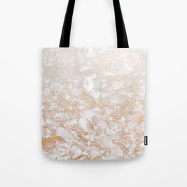 Elegant white faux glitter stylish marble pattern Tote Bag