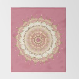 Delicate Gold Rose Mandala on Rose Pink Throw Blanket