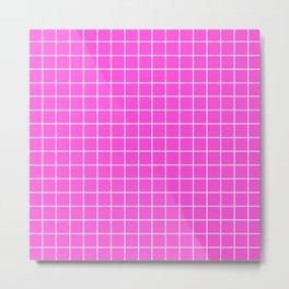 Purple pizzazz - pink color - White Lines Grid Pattern Metal Print
