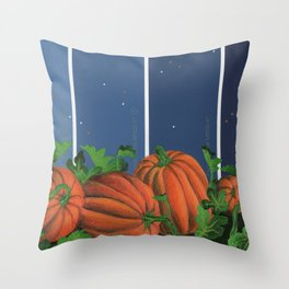 Pumpkin Patch at Night on Blues Throw Pillow