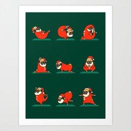 Santa Pug Yoga Art Print