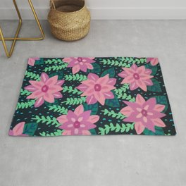 Colorful Abstract Floral on Black Rug