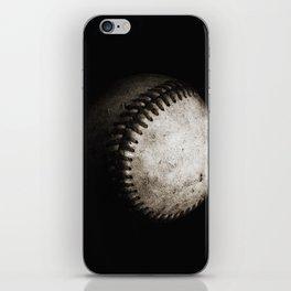 Battered Baseball in Black and White iPhone Skin