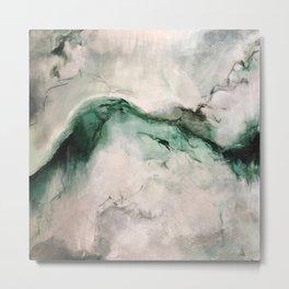 Puki I Waho Green Gray Marbled Painting Metal Print