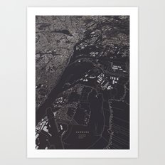 Hamburg 3D city map Art Print