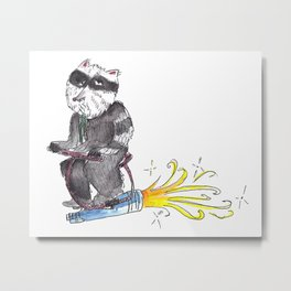 Stoned Raccoon Riding a Jetpack Metal Print