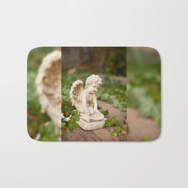 Small angel statue kneel Bath Mat