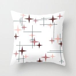 Mid Century Modern Stars (Pink) Throw Pillow