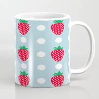 strawberry Mugs featuring strawberry by vitamin