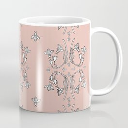 Bees and flowers pattern pink Coffee Mug