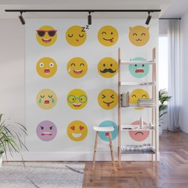Emoticons vector set. Emoji icons, yellow circle illustration Wall Mural