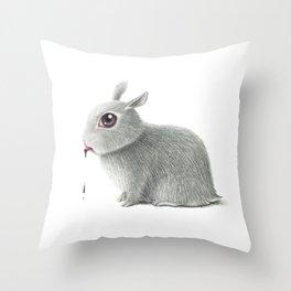 the rabbit drooling black Throw Pillow