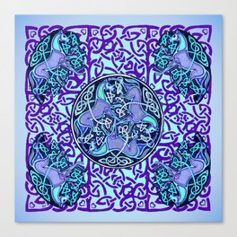 7 Blue Celtic Horses Canvas Print