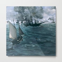 """Édouard Manet - The Battle of the U.S.S. """"Kearsarge"""" and the C.S.S. """"Alabama"""" Metal Print"""