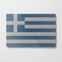Greece Stone Wall Flag Metal Print