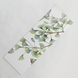 Mint Green Ginkgo Leaves and Green Goldfish Watercolor Design Yoga Mat