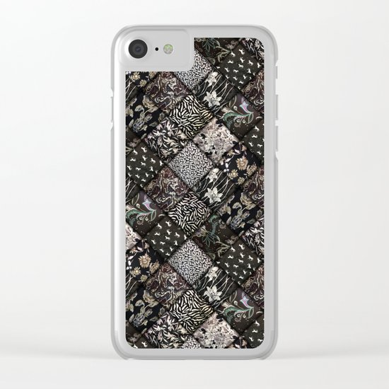 Faux Patchwork Quilting - Black Clear iPhone Case