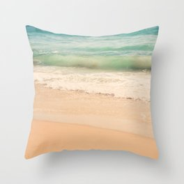 beach. Sea Glass ocean wave photograph. Throw Pillow