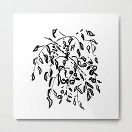 Wisteria Hysteria Black Ink Drawing  Metal Print