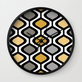 Mid Century Modern Rounded Diamond Pattern // Black, Gray, Gold, Butter Yellow // Version 1 Wall Clock