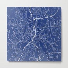 Worcester Map, USA - Blue Metal Print