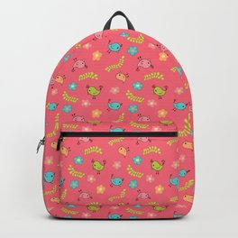 Doodle Birds - Spring Pattern in Pink Backpack