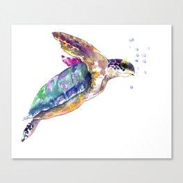 Hawaiian Sea Turtle, swimming turtle bathroom design Canvas Print