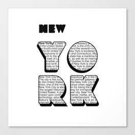 New York in writing Canvas Print