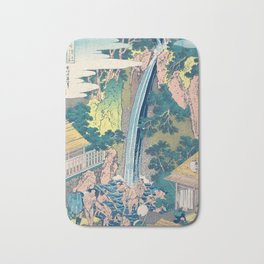 Katsushika Hokusai Waterfall Woodblock Print Bath Mat