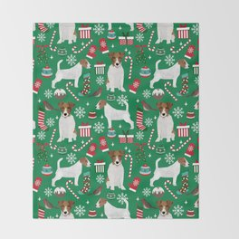 Jack Russell Terrier christmas festive holiday red and green dog lover gifts Throw Blanket