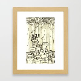 raccoon doodles Framed Art Print