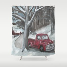 Winter-time Truck Shower Curtain